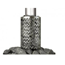 Tillbehör ved eldat bastuaggregat   Stenkorg rostfri (runt rökrör)